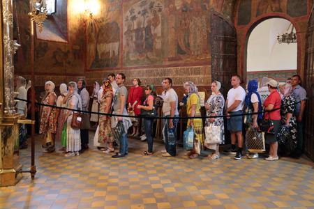 sacred trinity: MOSCOW REGION, SERGIYEV POSAD, RUSSIA - JUL 18, 2014: Trinity Lavra of St. Sergius. Celebration of the 700th anniversary of the birthday of St. Sergius of Radonezh. Turn pilgrims to the Holy relics of Sergius of Radonezh in the Holy Trinity Cathedral