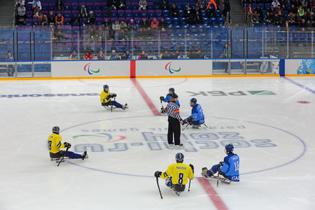 arbiter: SOCHI, RUSSIA - MAR 12, 2014: Paralympic winter games in ice Arena Shayba. The sledge hockey, match Italy-Sweden