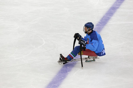 paralympic: SOCHI, RUSSIA - MAR 12, 2014: Paralympic winter games in ice Arena Shayba. The sledge hockey, match Italy-Sweden. The Italian team player
