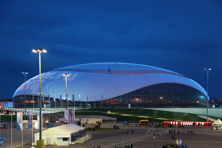 SOCHI, ADLER, RUSSIA - MAR 16, 2014: Olympic Park in Adlersky District, Krasnodar Krai. Bolshoy Ice Dome during the closing ceremony of the Paralympic winter games 2014