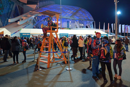 stadia: SOCHI, ADLER, RUSSIA - MAR 16, 2014: Olympic Park in Adlersky District, Krasnodar Krai. The closing ceremony of the Paralympic winter games 2014 Editorial