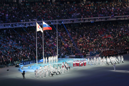 fisht: SOCHI, ADLER, RUSSIA - MAR 16, 2014: The closing ceremony of the Paralympic winter games 2014 at stadium Fisht in Olympic Park Editorial