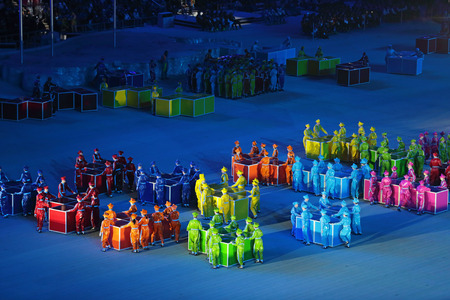 stadia: SOCHI, ADLER, RUSSIA - MAR 16, 2014: The closing ceremony of the Paralympic winter games 2014 at stadium Fisht in Olympic Park Editorial