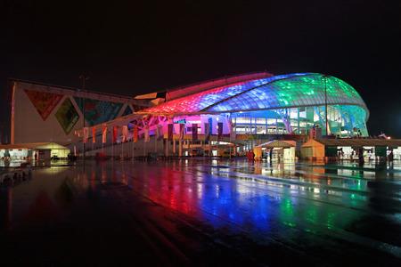 fisht: SOCHI, ADLER, RUSSIA - MAR 16, 2014: Olympic Park in Adlersky District, Krasnodar Krai. Fisht Olimpic Stadium during the closing ceremony of the Paralympic winter games 2014