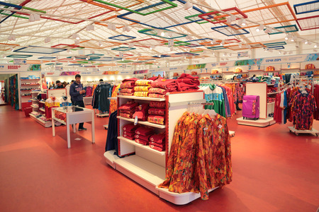 olympic symbol: SOCHI, RUSSIA - MAR 22, 2014: Retail trade. Shop Olympic service Bosco, interior