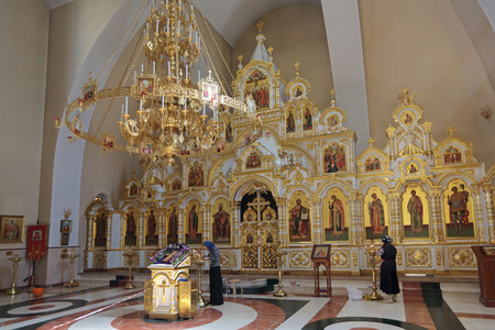iconostasis: KRASNODAR REGION, SOCHI, RUSSIA - MAR 24, 2014: The temple of the Holy equal of the Apostles Great Prince Vladimir, interior