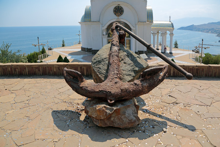 galley: MALORECHENSKOYE, REPUBLIC OF CRIMEA, RUSSIA - AUG 13, 2014: Open space near the Museum of disasters on sea, old Admiralty galley anchor 18th century
