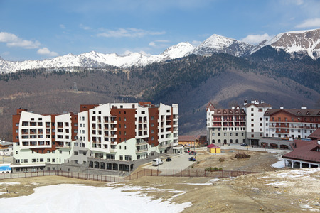 SOCHI, ADLER DISTRICT, KRASNODAR KRAI, RUSSIA - MAR 26, 2014: Mountain Olympic village at Rosa Khutor, Krasnaya Polyana - the place of residence of the athletes of the winter Olympic games 2014