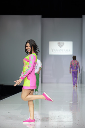 role models: MOSCOW, RUSSIA - APR 1, 2014: Russian fashion designer Anastasia Shevchenko in role models at the show own collection of clothes of trade mark YanaStasia