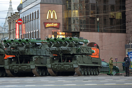 complex system: MOSCOW, RUSSIA - MAY 05, 2014: Rehearsal celebration of the 69th anniversary of the Victory Day (WWII). Military equipment on Tverskaya street prepares to travel to the Red Square. Buk missile system (air defense complex SA-11 Gadfly)