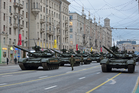 MOSCOW, RUSSIA - MAY 05, 2014: Rehearsal celebration of the 69th anniversary of the Victory Day (WWII). Military equipment on Tverskaya street prepares to travel to the Red Square. The T-90 is a Russian third-generation main battle tank