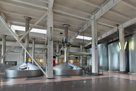 mash: Brewing production - mash vats, the interior of the brewery, nobody