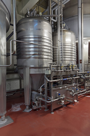Brewing production - fermentation department, the interior of the brewery, nobody