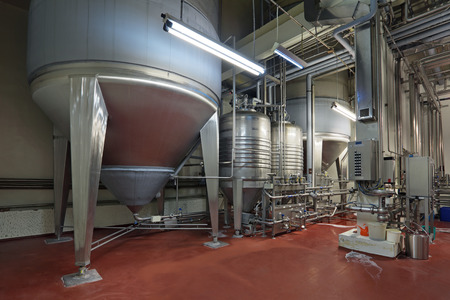 pipework: Brewing production - fermentation department, the interior of the brewery, nobody
