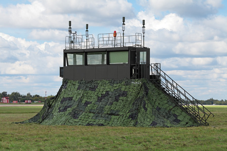 supervisory: Mobile air traffic control tower at the airfield, nobody Stock Photo