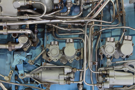 fuel chamber: Fragment of aircraft turbo-jet engine Stock Photo