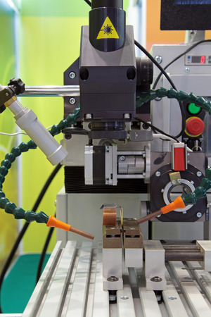 metal processing: Machine for laser metal processing (CNC), close-up Stock Photo
