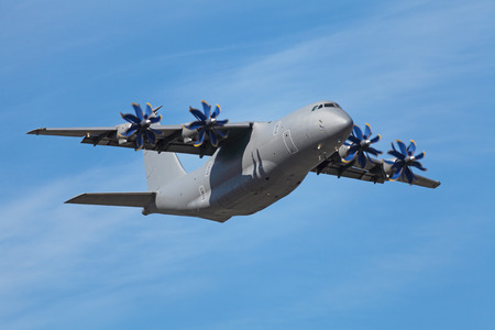 turboprop: A cargo turboprop aircraft flies