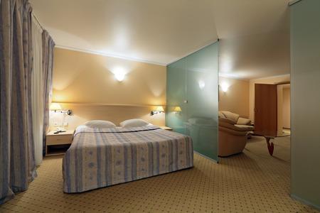 bedchamber: The interior of a bedroom, nobody