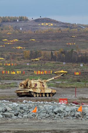 self testing: Heavy self-propelled howitzer on the firing range