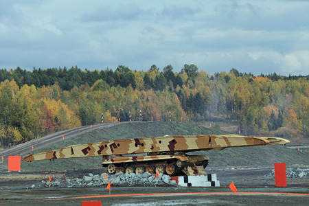 self testing: Armoured vehicle-launched bridge (AVLB) demonstrates the installation of the bridge
