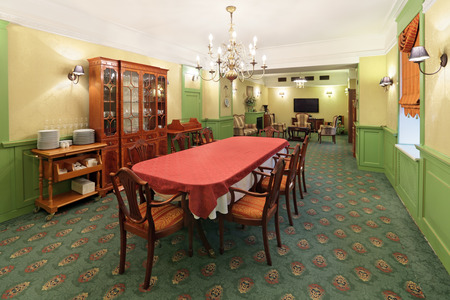 The interior dining room in retro style, nobody Editorial
