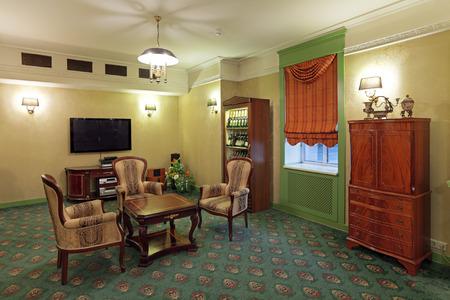 curio: The interior living room in retro style, nobody Editorial