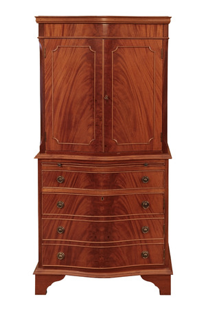 curio: Old wooden wardrobe, isolated on white