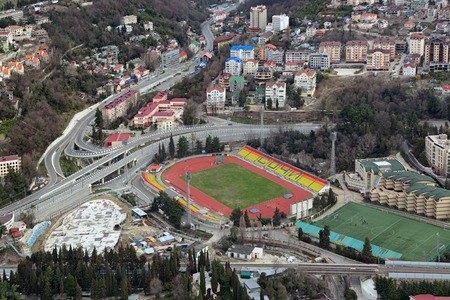 prospect: Russia, Krasnodar krai, Sochi cityscape, top view on the street Bzugu, Kurortniy prospect and Sochi Central Stadium
