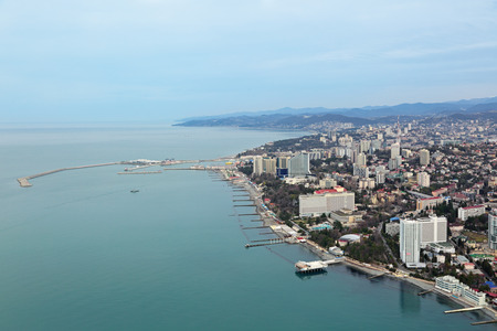 krasnodar region: Russia, Krasnodar krai, Sochi cityscape, the view from the height of the Central part of the city and sea trade port
