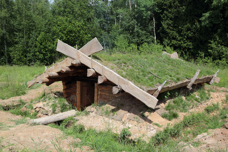 dugout: A dugout or dug-out, also known as a pit-house on the edge of the forest Editorial