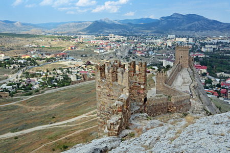 genoese: SUDAK, REPUBLIC OF CRIMEA, RUSSIA - AUG 07, 2014: The ruins of the medieval Genoese fortress in Sugdeya city (currently - Sudak)