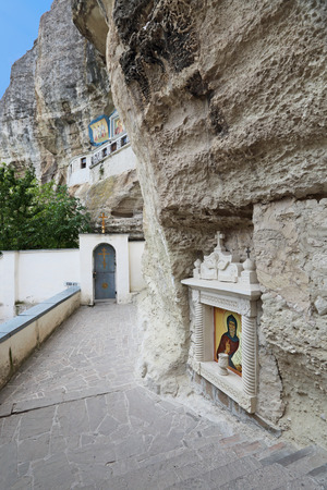 Male Assumption Monastery of the Caves. Unique Orthodox monastery dug into the rock. Bakhchisaray, republic of Crimea, Russia Stock Photo