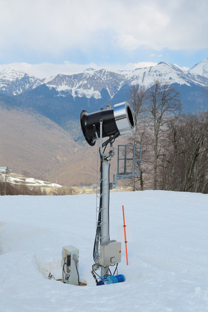Snowmaking at ski resort, nobody Stock Photo