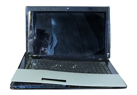 significant: Laptop with significant mechanical damage, isolated on white  Stock Photo