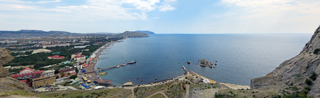 Republic of Crimea, panorama of the city of Sudak, views of Sudak Bay from the Genoese fortress, summer landscape photo
