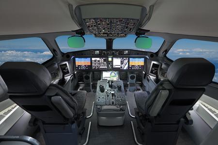 La cabine du passager avion de ligne, personne, pilote automatique, ciel bleu moderne en dehors la fenêtre