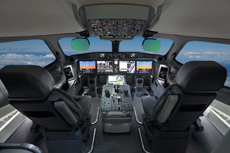 The cabin of the modern passenger airliner, nobody, autopilot, blue sky outside the window Editorial