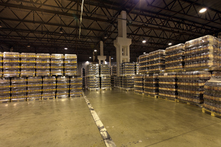 MOSCOW, RUSSIA, OCHAKOVO BREWERY - JUN 13, 2013: The biggest Russian company beer and beverage industry. Warehouse of finished products company