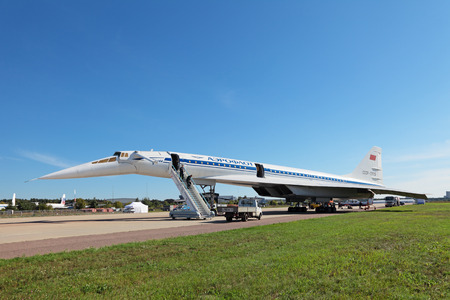 supersonic transport: ZHUKOVSKY, RUSSIA - AUG 26, 2013: Tupolev Tu-144 plane was the first in the world commercial supersonic transport aircraft at the International Aviation and Space salon MAKS-2013 Editorial