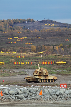 self testing: Heavy self-propelled howitzer in the field of fighting position, nobody Stock Photo