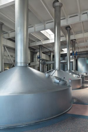 vats: Brewing production - mash vats, the interior of the brewery, nobody