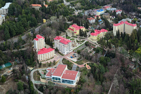 krasnodar region: SOCHI, RUSSIA - MAR 02, 2014: The complex of buildings of the sanatorium Pravda in Adlersky District, Krasnodar Krai, top view