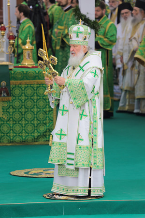 clergyman: MOSCOW REGION, SERGIYEV POSAD, RUSSIA  JUL 18, 2014: Kirill (Vladimir Mikhailovich Gundyayev), Patriarch of Moscow and all Rus