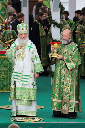 rus: MOSCOW REGION, SERGIYEV POSAD, RUSSIA - JUL 18, 2014: Kirill (Vladimir Mikhailovich Gundyayev), Patriarch of Moscow and all Rus at the ceremony of celebration of the 700th anniversary of the birthday of St. Sergius of Radonezh Editorial