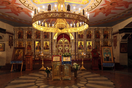 iconostasis: YEKATERINBURG, RUSSIA, SEP 24, 2013: Church on Blood in Honour of All Saints Resplendent in the Russian Land - place of execution of Emperor Nicholas II and his family. Royal doors and iconostasis