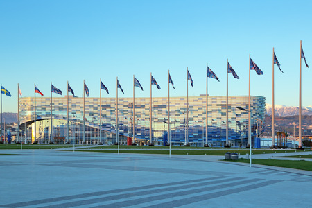 stadia: SOCHI, ADLER, RUSSIA - MAR 23, 2014: Iceberg Skating Palace at Olympic Park in Adlersky District, Krasnodar Krai - venue for the 2014 winter Olympics