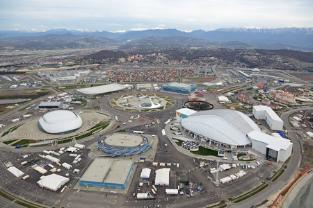 venue: SOCHI, ADLER, RUSSIA - MAR 02, 2014: Olympic Park in Adlersky District, Krasnodar Krai - venue for the 2014 winter Olympics, top view