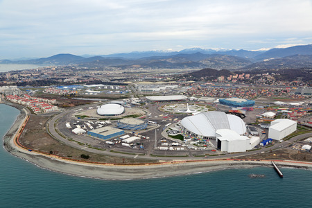 krasnodar region: SOCHI, ADLER, RUSSIA - MAR 02, 2014: Olympic Park in Adlersky District, Krasnodar Krai - venue for the 2014 winter Olympics, top view