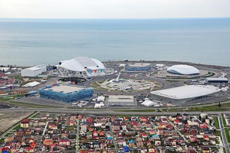 stadia: SOCHI, ADLER, RUSSIA - MAR 02, 2014: Olympic Park in Adlersky District, Krasnodar Krai - venue for the 2014 winter Olympics, top view